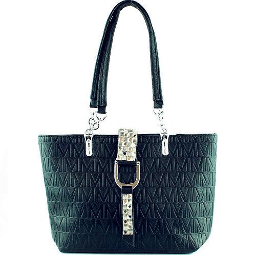 Premium Womens Rhinestone Studded Buckle Style Large Tote Handbag In 4 Colors