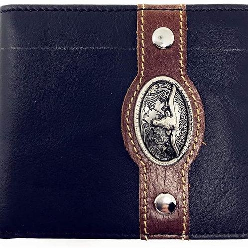Western Genuine Leather Mens Metal Concho Longhorn Bifold Short Wallet 3 colors