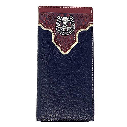 Texas West Premium Tooled Genuine Leather Bifold Wallet in Multi Emblem
