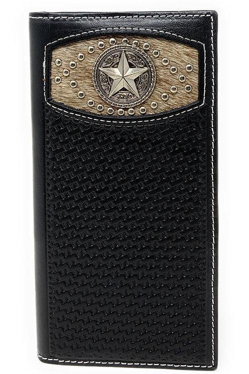 Western Men's Basketweave Genuine Leather Star Long Cowhide Stud Bifold Wallet