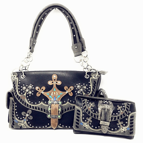 Premium Western Buckle Embroidery Concealed Carry Handbag Purse / Wallet One Set