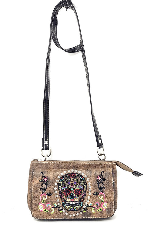 Western Sugar Skull Rhinestone Flora Embroidery Cross Wallet Cross Body Clutch