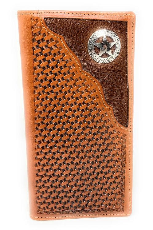 Men's Cow Fur Cowhide Genuine Leather Chrome Star Basketweave Bifold Wallet