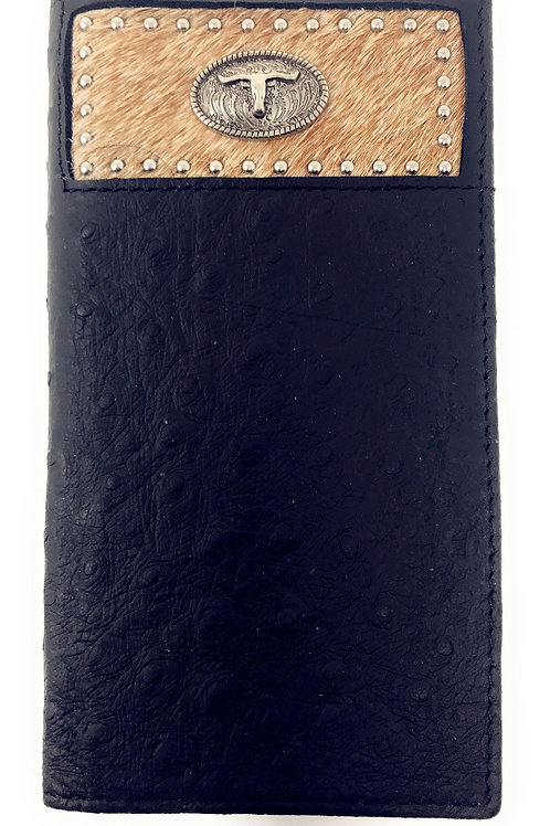 Western Men Black Genuine Leather Ostrich CowFur Metal Emblem Tooled Long Wallet
