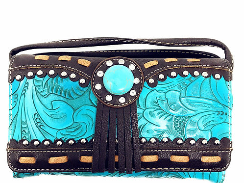 Rhinestone Concho Flora Embroidery 3D Womens Multi-way Tri-fold Wallet