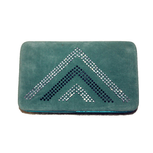 Rhinestone Chevron Womens Clip Wallet With Fast Shipping & Extra Checkbook