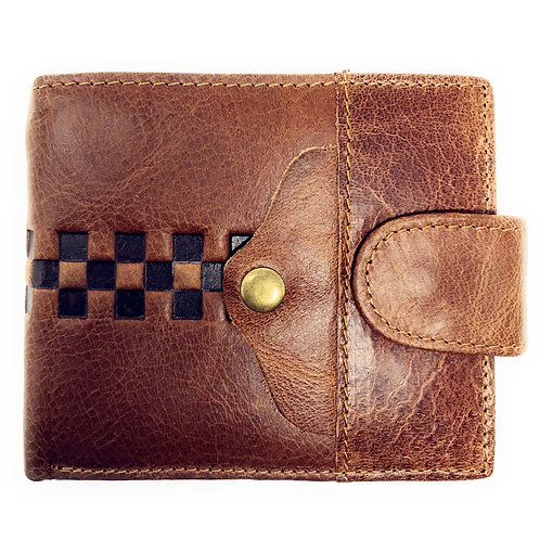 Western Mens Genuine Leather Bifold ID Credit Card Square Tooled Zip Wallet