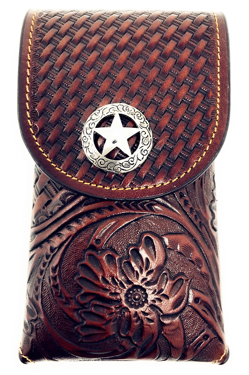 Cowboy Medium Size Genuine Leather Star Galaxy iPhone Holster Cellphone Case