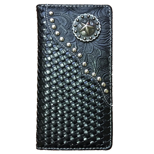 Lone Star Men's Hand-knitted Concho Leather Bifold Wallet, Extra Checkbook.