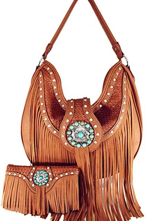 Western Cowgirl Concealed Carry Fringe Concho Agate Handbag Hobo Bag Set