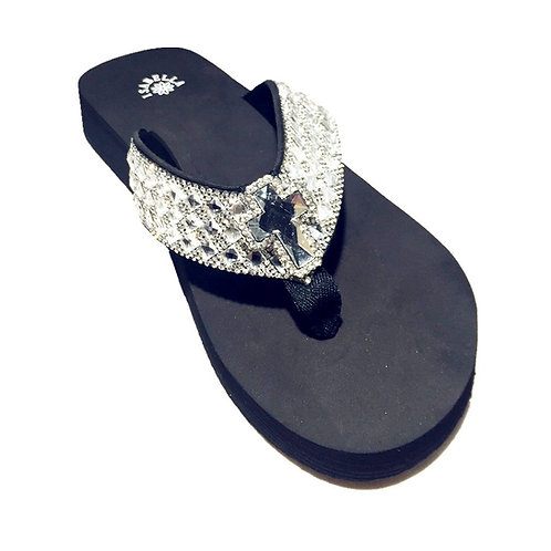 Premium Western Rhinestone Cross Concho Blingbling Flip Flops in 4 Sizes S053