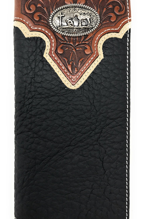 Western Tooled Genuine Leather Praying Cow Boy Men's Long Bifold Wallet in 2 col