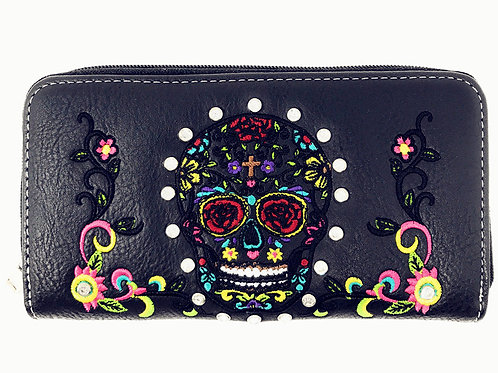 New Style Rhinestone Embroidered Sugar Skull Wallet In Multi Color