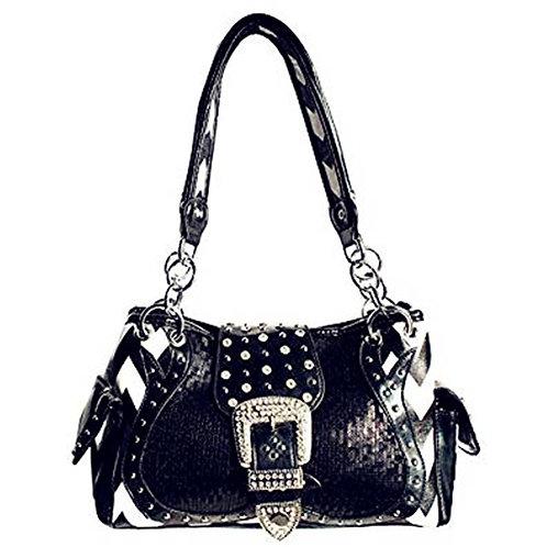 Rhinestone Buckle Zebra Pattern Handbag Purse In Black Color