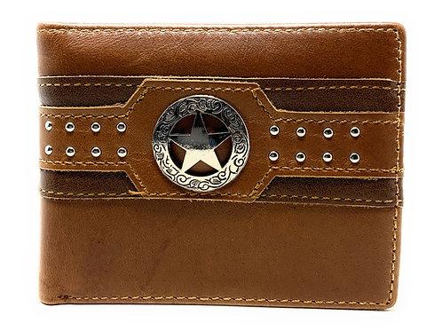 Western Genuine Leather Mens Metal Concho Lone Star Bifold Short Wallet