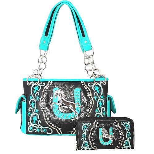 Premium Rhinestone Western Horse Concealed Carry Shoulder Handbag Wallet One Set