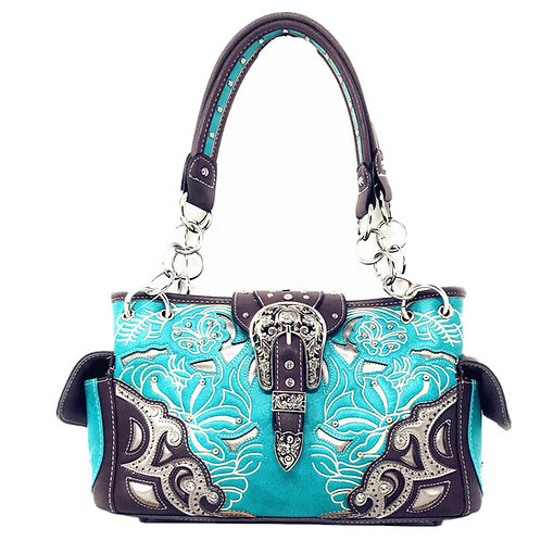 Western Rhinestone Conceal Carry Buckle Floral Concho Laser Cut Shoulder Handbag