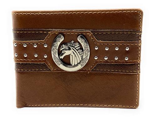 Western Genuine Leather Mens Metal Concho Horse Head Bifold Short Wallet