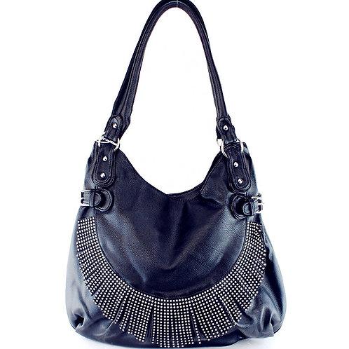 Premium Rhinestone Fringe Shoulder Bag with Zipper Closure InMulti Color