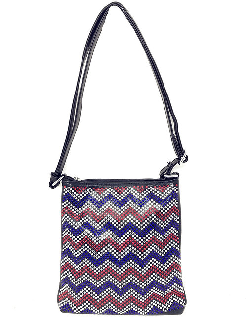 Rhinestone Chevron Cross Body Messenger Bag in Multi Colors