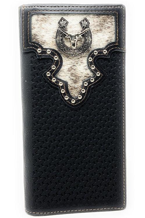 Western Men's Cow Fur Genuine Leather Basketweave Longhorn Bifold Wallet
