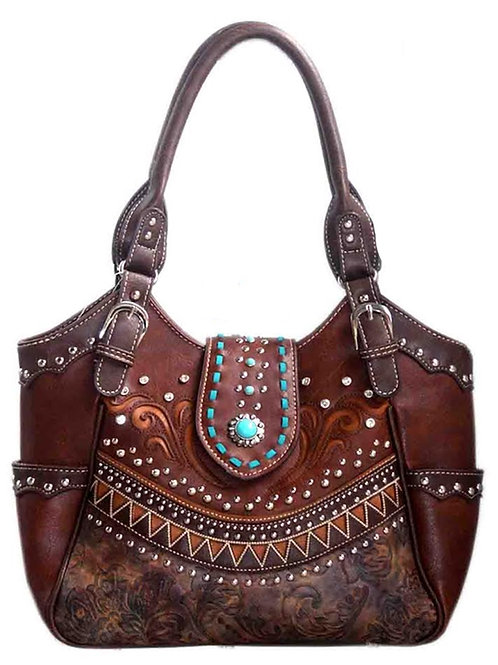 Western Style Rhinestone Concho Buckle Concealed Carry Purse Women Shoulder Bag