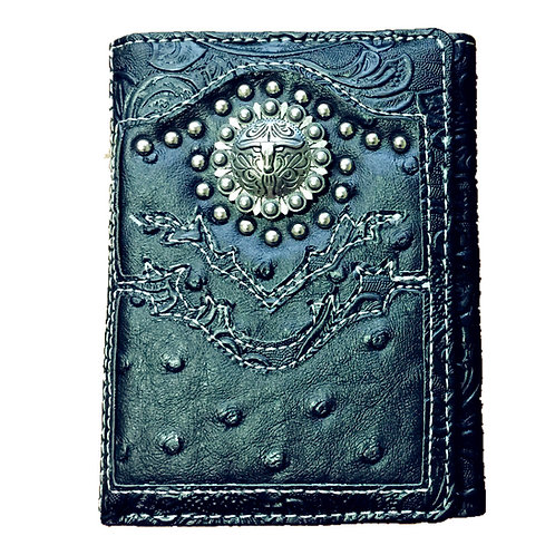 Ostrich Concho Longhorn Emblem Trifold Short Wallet in 3 Colors