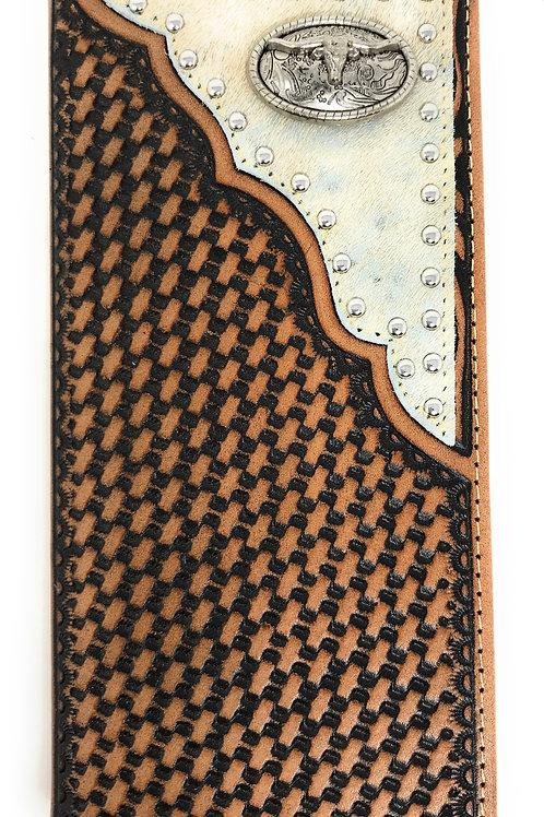 Western Men's Basketweave Genuine Leather Longhorn Cowhide Stud Bifold Walletl
