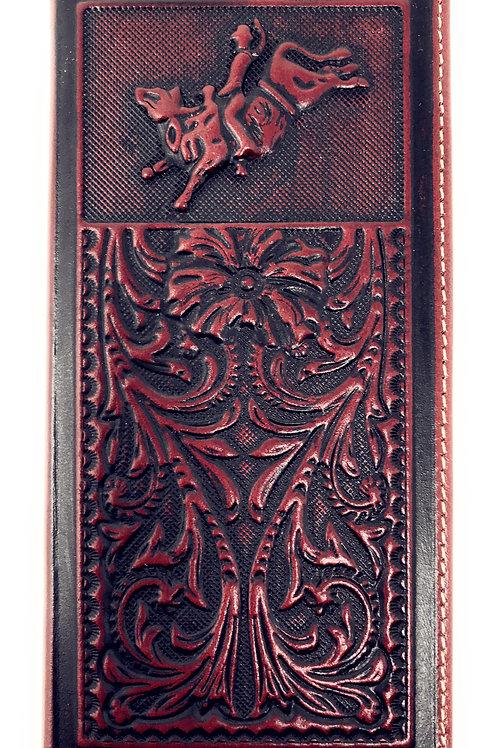 Genuine Leather Basketweave Floral Tooled Rodeo Mens Long Bifold Wallet