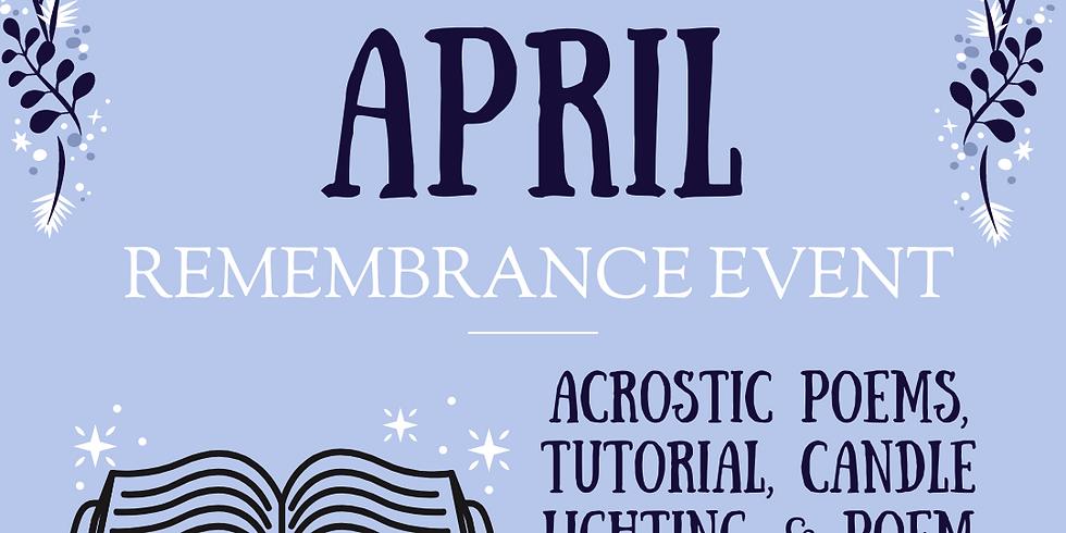 April Remembrance Event 4/9/2021