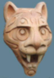 Cougar, Puma, Mountain Lion, Mask, Animal mask, Fangs, Basswood