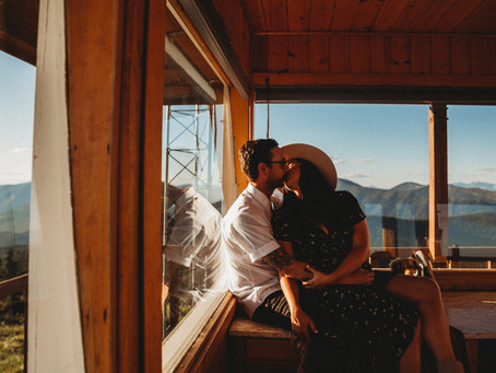 Dreamy Whitefish Montana Mountain Top Adventure Engagement Session