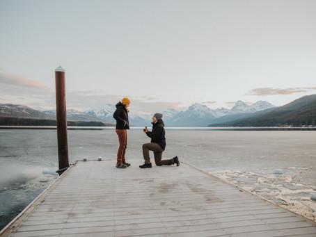 Magical Glacier National Park Sunrise Surprise Proposal