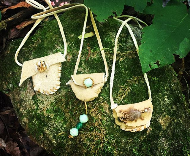 Buckskin medicine bags..