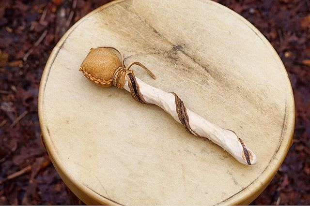 Rawhide frame drum _deerskin and birch_ and beater _buckskin padded with alpaca wool and privet hand
