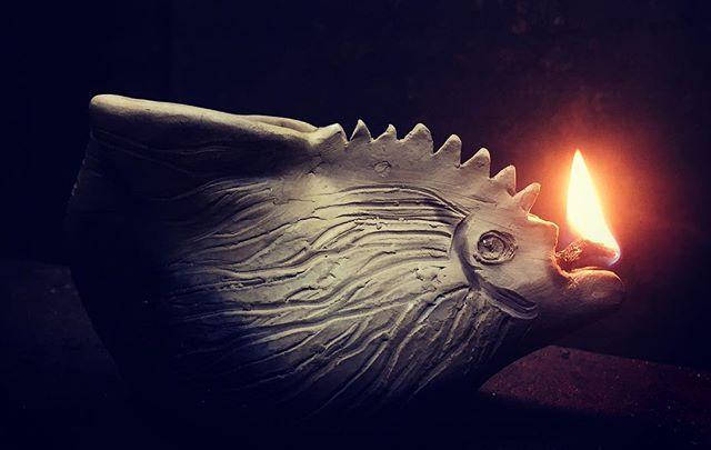Joel's wood-fired clay goblin lamp works!! #breathingfire