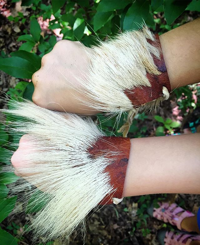Bark-tanned deerskin arm cuffs.jpg.jpg