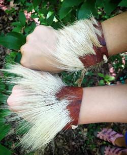 Bark-tanned deerskin arm cuffs.jpg.jpg