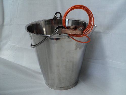 QC-030 - 13.6Ltr Stainless Steel Bucket w Spout Complete w Bonding Lead and clip