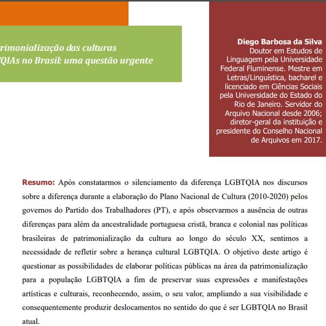 A patrimonialização das culturas LGBTQIAs no Brasil: uma questão urgente