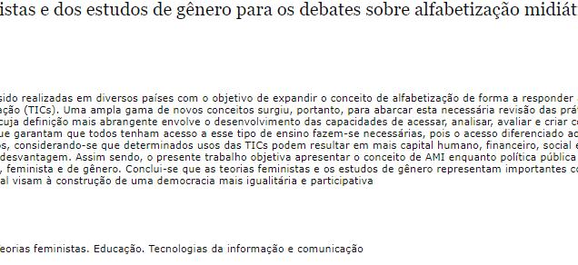 Contribuições das teorias feministas e dos estudos de gênero para os debates sobre alfabetização midiática e informacional