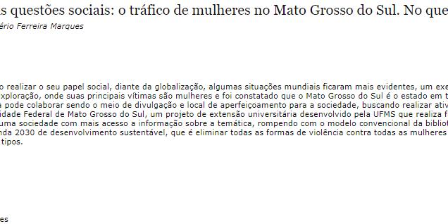 A biblioteca como mediadora nas questões sociais: o tráfico de mulheres no Mato Grosso do Sul. No que podemos colaborar?