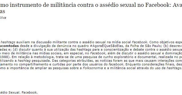A Folksonomia das hashtags como instrumento de militância contra o assédio sexual no Facebook: Avaliação da hashtag #mexeucomumamexeucomtodas