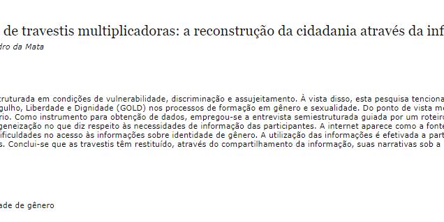 Comportamento informacional de travestis multiplicadoras: a reconstrução da cidadania através da informação