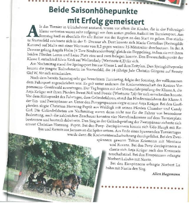 Artikel Mecklenburger Pferd 2013