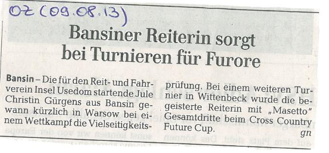Ostsee-Zeitung 09.08.2013