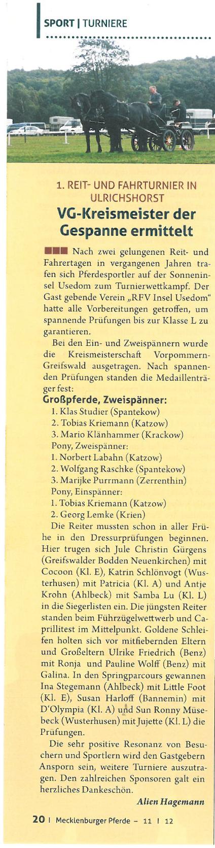 Artikel Mecklenburger Pferd 12/2012
