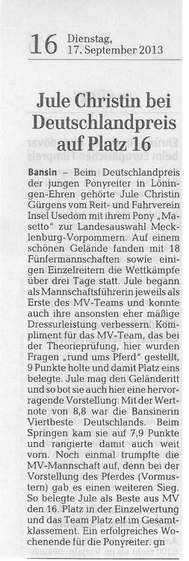 Ostsee-Zeitung 17.09.2013