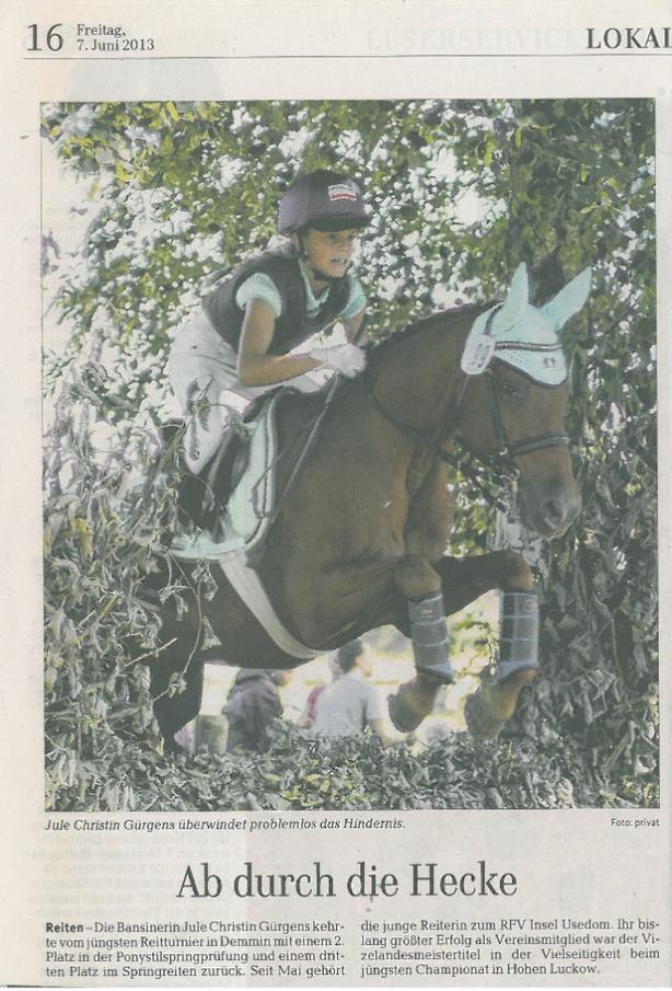 Ostsee-Zeitung 07.06.2013