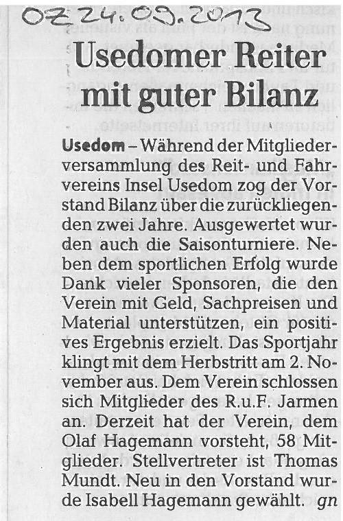 Ostsee-Zeitung 24.09.2013